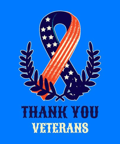 Veterans Day T-Shirt Design Template Featuring a RIP Ribbon with an American Design 1814h