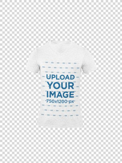 Ghosted Heathered V-Neck T-Shirt Mockup with a Customizable Background 29382