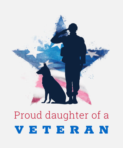 T-Shirt Design Maker for Veterans Day Featuring a Salutating Soldier and a Dog 1815a