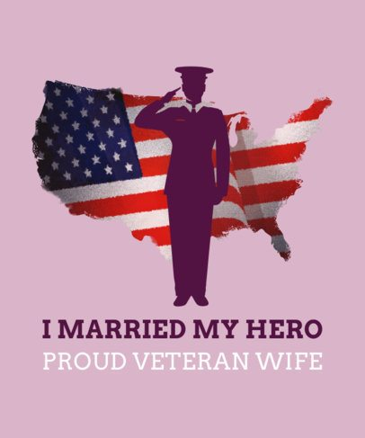 Veteran Wife T-Shirt Design Template 1815k