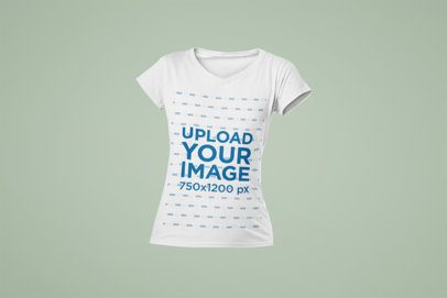 Mockup of a Woman's V-Neck Ghosted T-Shirt 29365