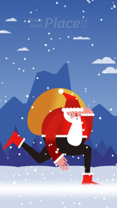 Christmas Instagram Story Video Maker Featuring a Cute Animated Santa 1937