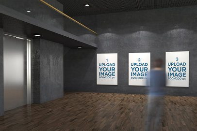 Mockup of Three Exhibition Posters Displayed at an Art Gallery 320-el