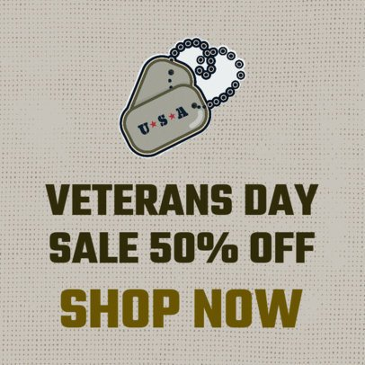 Banner Maker for Veterans Day Discounts with a Military Dog Tag Clipart 1806b