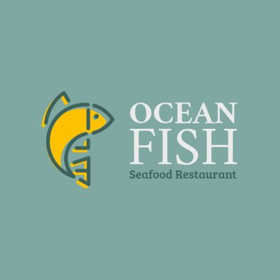 Seafood Restaurant Logo Template with Minimalist Illustrations 1801f-11-el