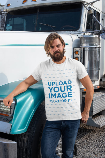 T-Shirt Mockup of a Bearded Man Leaning Against a Truck 29487