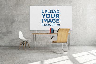 Mockup Featuring an Art Print Hanging Behind a Work Desk 325-el