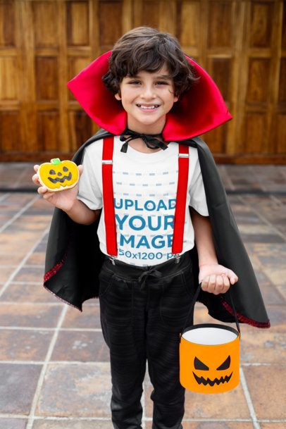 T-Shirt Mockup Featuring a Happy Kid in a Halloween Costume 22318