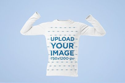 Men's Ghosted Mockup of a Long Sleeve Tee with Arms in the Air 29367