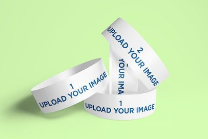 Mockup of a Bunch of Paper Wristbands 633-el