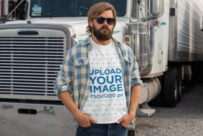 Mockup of a Man Wearing a T-Shirt and Posing in Front of His Truck 29486