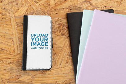 Mockup of a Customizable Wallet Case for an iPhone XS 29229