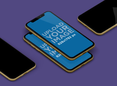 Mockup of Multiple iPhones 11 Floating in a Plain Background 240-el