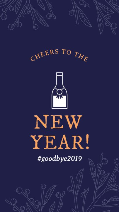 New Year Instagram Story Template with a Champagne Bottle 1832c