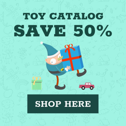 Christmas Ad Banner Generator for a Half-Off Discount 1838c