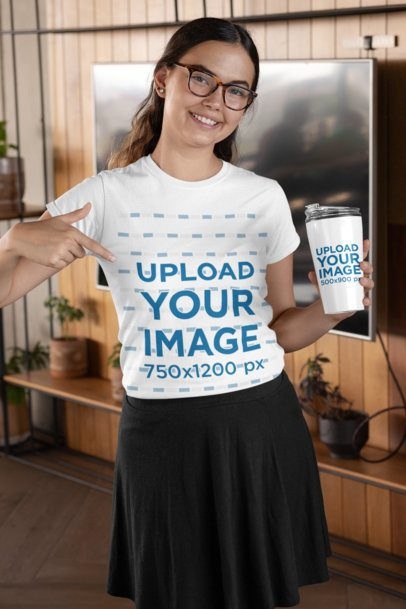 T-Shirt Mockup of a Woman with Lenses Holding a Travel Mug 29315