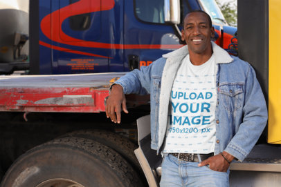 T-Shirt Mockup of a Smiling Truck Driver Posing 29468