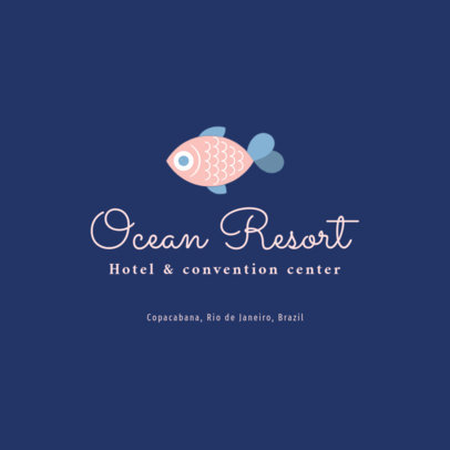 Beachfront Hotel Logo Template Featuring a Tropical Fish Clipart 1761g 16-el