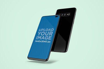 Mockup of Two Samsung Galaxy S10 Floating in a Minimalistic Setting 563-el