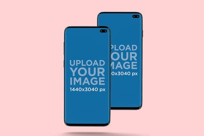 Mockup of Two Samsung Galaxy S10 in Portrait Position Against a Plain Backdrop 564-el