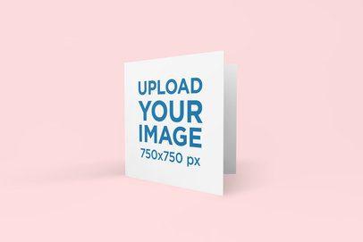 Greeting Card Mockup Featuring a Solid Color Backdrop 269-el