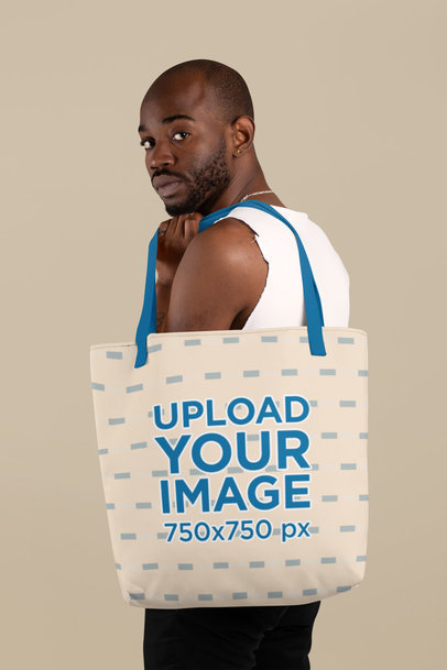 Side Profile Mockup of a Man Carrying a Tote Bag with Customizable Strap 29440