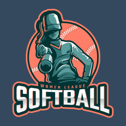 Softball Logo Maker with a Female Character 172aa-2601