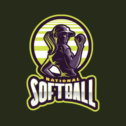 Sports Logo Template for a Female Softball Team 172bb-2601