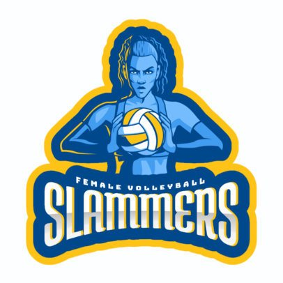Sports Logo Generator Featuring a Fierce Volleyball Female Player 2601b