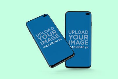 Minimal Mockup of Two Samsung Galaxy S10 Placed Against a Solid Color Backdrop 566-el