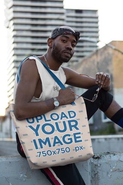 Mockup of a Man Carrying a Tote Bag with Customizable Strap in an Urban Area 29443