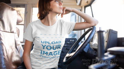T-Shirt Video of a Short-Haired Woman at the Driver Sit of a Truck 12972
