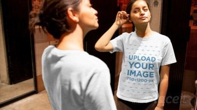 T-Shirt Video of a Woman Looking in the Mirror 13071