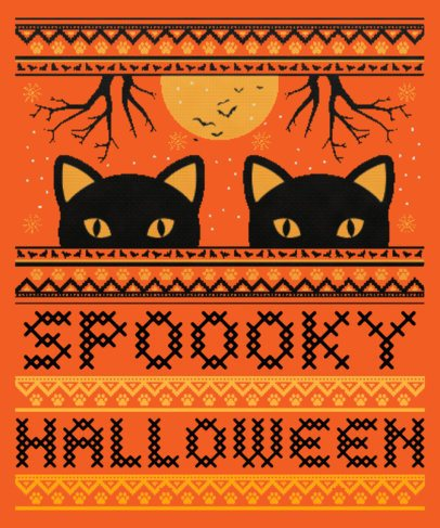 Halloween T-Shirt Design Maker for a Spooky Ugly Sweater 1853b