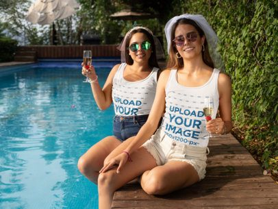 Mockup of Two Women with Tank Tops at a Bachelorette Pool Party 29686