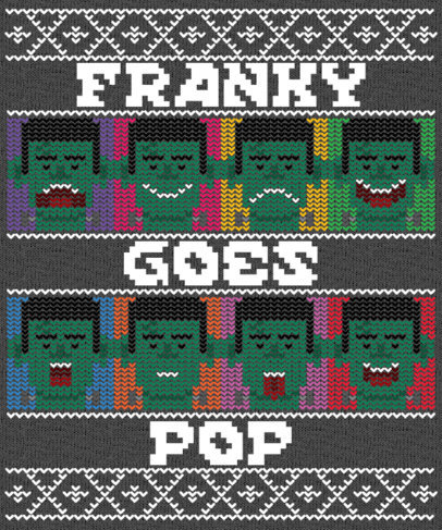 Funny Frankenstein T-Shirt Design Template with an Ugly Sweater Look 1851e