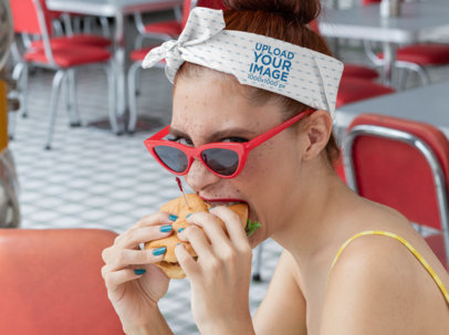 Bandana Mockup of a Pinup Woman Eating a Burger 29581