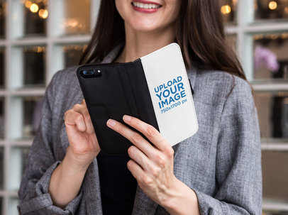 Mockup of a Wallet Case for an iPhone Featuring a Woman 29802