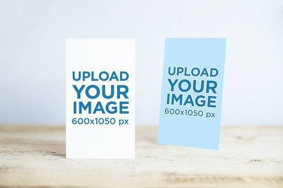 Mockup of Two Vertical Business Cards Standing in a Minimal Setting 746-el