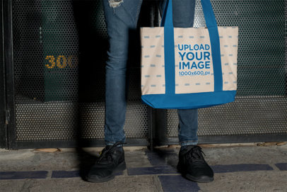 Cropped Face Mockup of a Man Carrying a Weekend Bag with Customizable Strap 29800