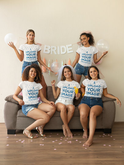 Mockup of a Group of Friends Wearing Matching T-Shirts at a Bachelorette Party 29691