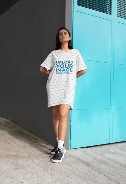 Shift Dress Mockup of a Woman Leaning Against a Wall 29742