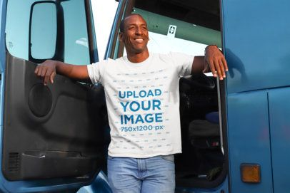 T-Shirt Mockup of a Truck Driver in the Cabin 29473