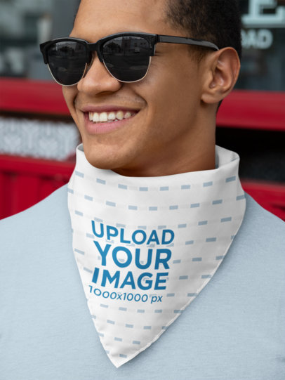 Mockup of a Man with Sunglasses with a Bandana Wrapped Around His Neck 29597