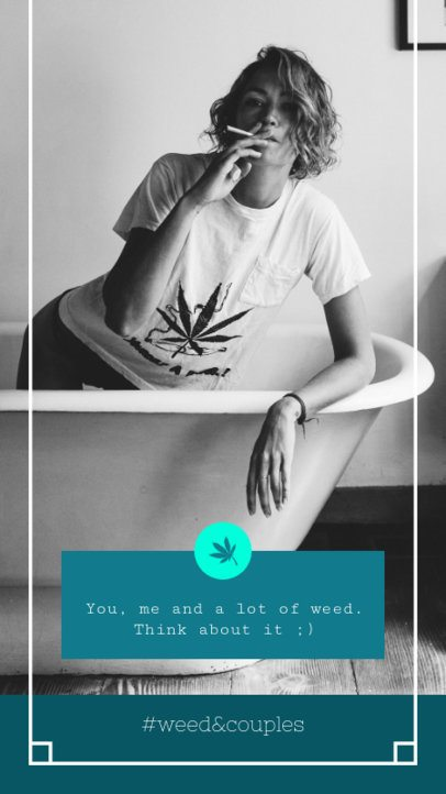 Romantic Instagram Story Maker with a Marijuana Quote 1045l-1889