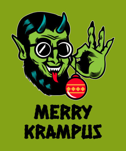 Funny Xmas T-Shirt Design Maker Featuring a Krampus-Inspired Illustration 1881e
