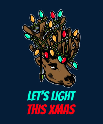 T-Shirt Design Template Featuring a Reindeer with Christmas Lights in its Antlers 1881f