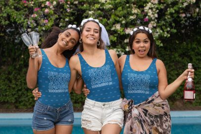 Tank Top Mockup of Three Women Enjoying at a Bachelorette Party 29694