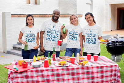 T-Shirt Mockup of a Group of Friends Having a Barbecue Party 29699