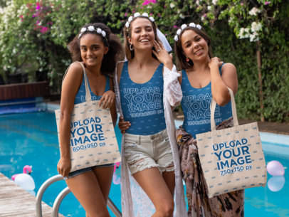 Tote Bag Mockup of a Group of Women Wearing Swimsuits at a Bachelorette Party 29692